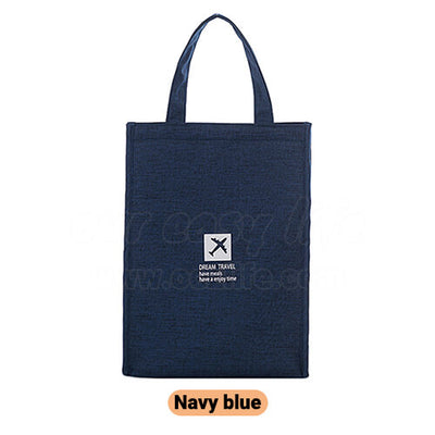 navy blue stylish large foldable lunch tote bag for women men to work