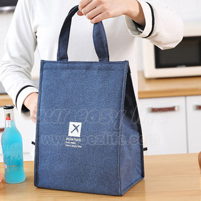 navy blue stylish large foldable lunch tote bag for women men to work display