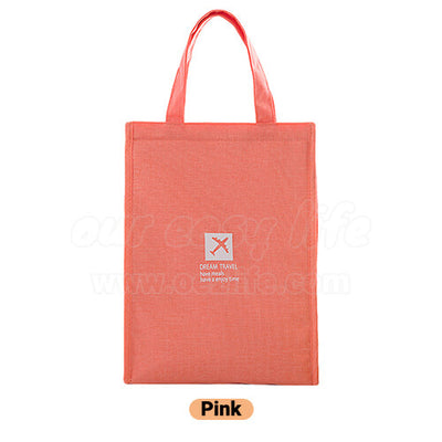 pink stylish large foldable lunch tote bag for women men to work