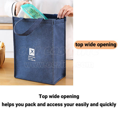 stylish large foldable lunch tote bag for women men to work top wide opening