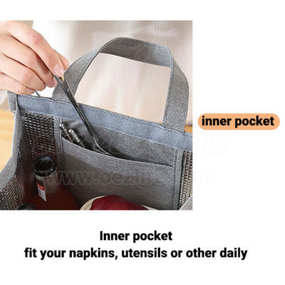 stylish large foldable lunch tote bag for women men to work with pocket