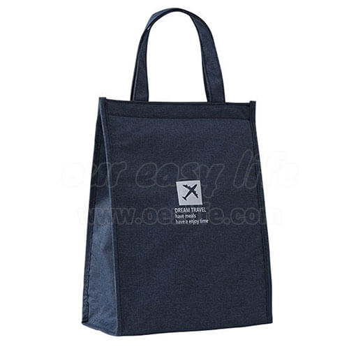stylish large foldable navy blue lunch tote bag for women men to work display