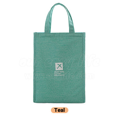 teal stylish large foldable lunch tote bag for women men to work