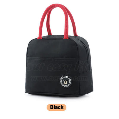 black insulated lunch tote bag for women to work simple design with zipper pocket