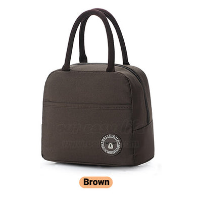 brown insulated lunch tote bag for women to work simple design with zipper pocket