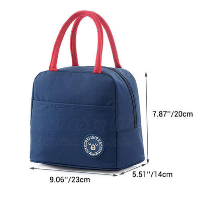 dimension of insulated tote lunch bag for women to work simple design with zipper pocket