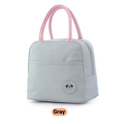gray insulated tote lunch bag for women to work simple design with zipper pocket