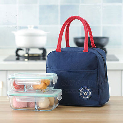 navy blue insulated tote lunch bag for women to work simple design with zipper pocket with lunch containers display