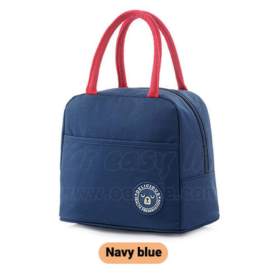 navy blue tote insulated lunch bag for women to work simple design with zipper pocket