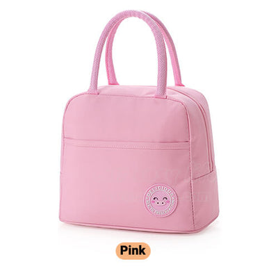 pink insulated lunch tote bag for women to work simple design with zipper pocket
