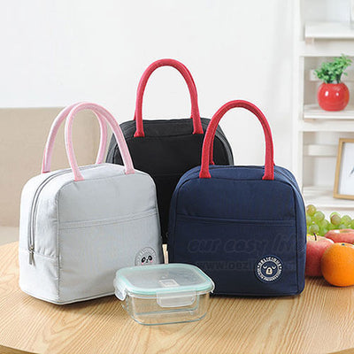 pink navy blue black insulated lunch tote bags for women to work simple design with zipper pocket display on desk