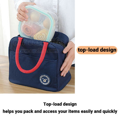 tote insulated lunch bag for women to work simple design with zipper pocket top-load design