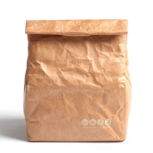 Brown Reusable Durable Waterproof Insulated Thermal Kraft Paper Lunch Tote Bags-color-brown