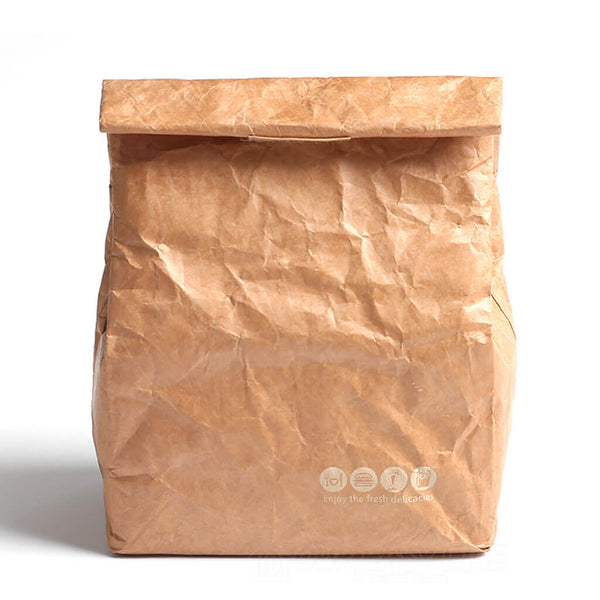 10153f6a7daa Brown Reusable Durable Waterproof Insulated Thermal Kraft Paper Lunch Tote  Bags