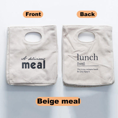 Reusable Organic Cotton Canvas Stylish Lunch Tote Bags-color-beige meal
