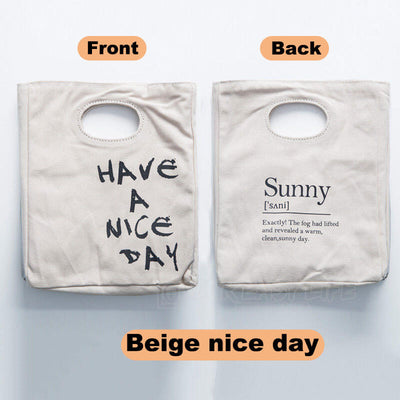 Reusable Organic Cotton Canvas Stylish Lunch Tote Bags- color-beige nice day