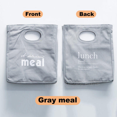 Reusable Organic Cotton Canvas Stylish Lunch Tote Bags-color-gray meal