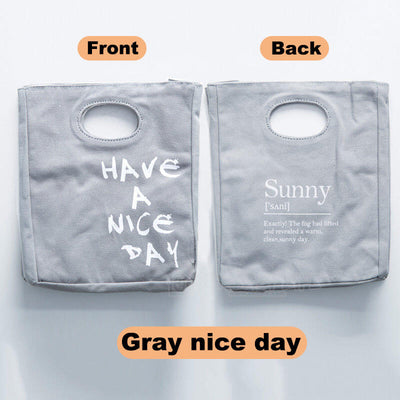 Reusable Organic Cotton Canvas Stylish Lunch Tote Bags-color-gray nice day