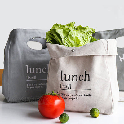 Reusable Organic Cotton Canvas Stylish Lunch Tote Bags- display with vegetable