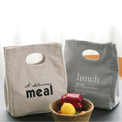 Reusable Organic Cotton Canvas Stylish Lunch Tote Bags-display on the table with vegetable