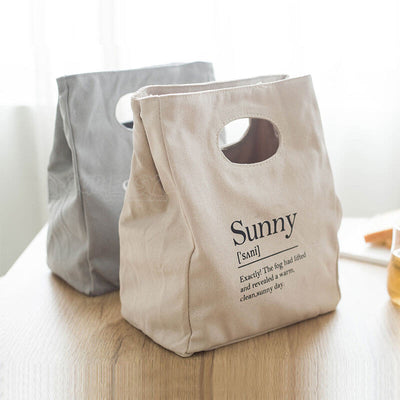 Reusable Organic Cotton Canvas Stylish Lunch Tote Bags-display on the table