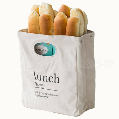 Reusable Organic Cotton Canvas Stylish Lunch Tote Bags - display with bread and sandwich