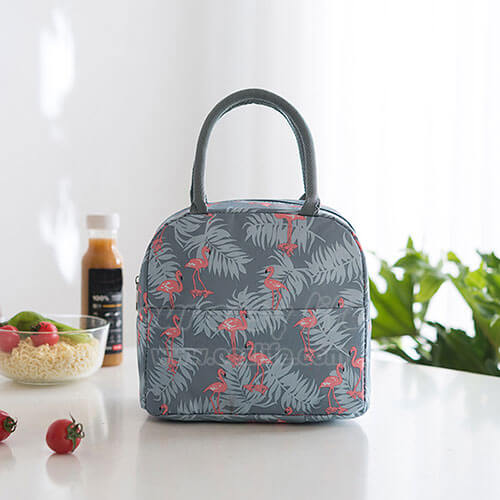 blue gray insulated cute lunch tote for women girls display on desk