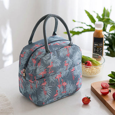 blue gray insulated cute lunch tote for women girls on desk