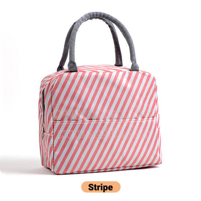 pink stripe cute insulated lunch tote for women girls