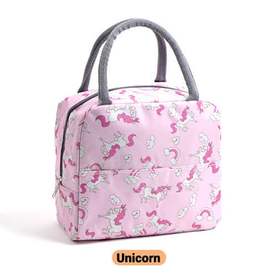 pink unicorn cute insulated lunch tote for women girls