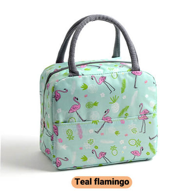 teal flamingo cute insulated lunch tote for women girls