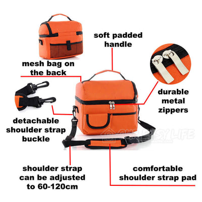 8L Large Capacity Thermal Insulated Lunch Cooler Bags for Women and Men-display the structure
