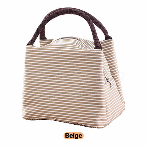 beige portable insulated lunch tote bag for women to work zipper