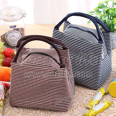 brown and navy blue portable insulated tote lunch bags for women to work zipper on desk