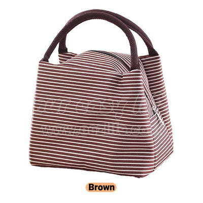 brown portable insulated lunch tote bag for women to work zipper