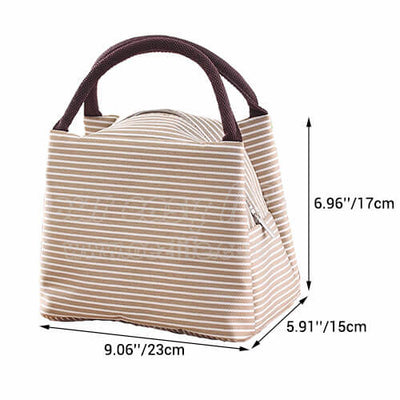 dimension of portable insulated lunch tote bag for women to work zipper