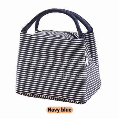 navy blue portable insulated lunch tote bag for women to work zipper