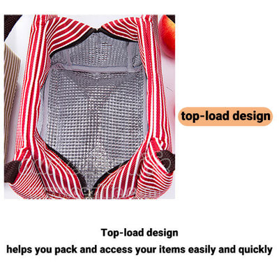 portable insulated lunch tote bag for women to work zipper top load design