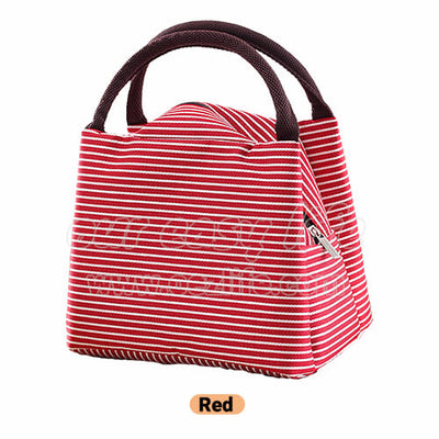 red portable insulated lunch tote bag for women to work zipper