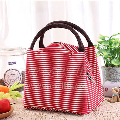 red portable insulated tote lunch bag for women to work zipper on desk