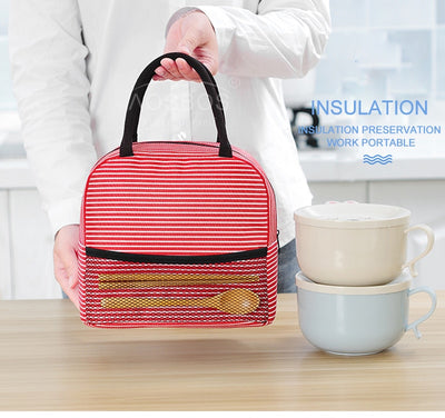 Stripe Lunch Bag With Front Mesh Pocket, Portable And Thermal Insulated
