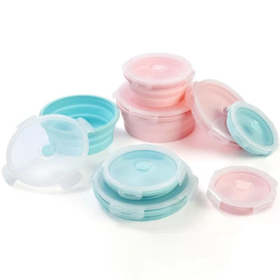 Round Silicone Bento Lunch Boxes for Adults and Kids, Collapsible, Microwavable