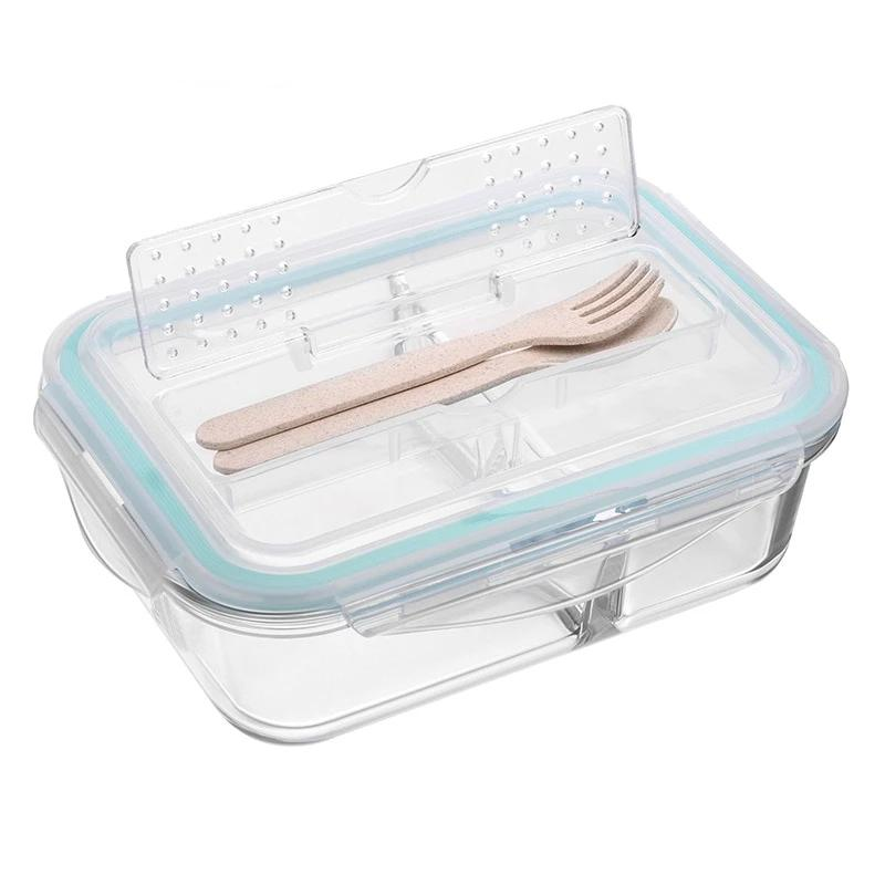Glass Compartment Bento Lunch Boxes for Adults and Kids, Microwavable, Korean Style