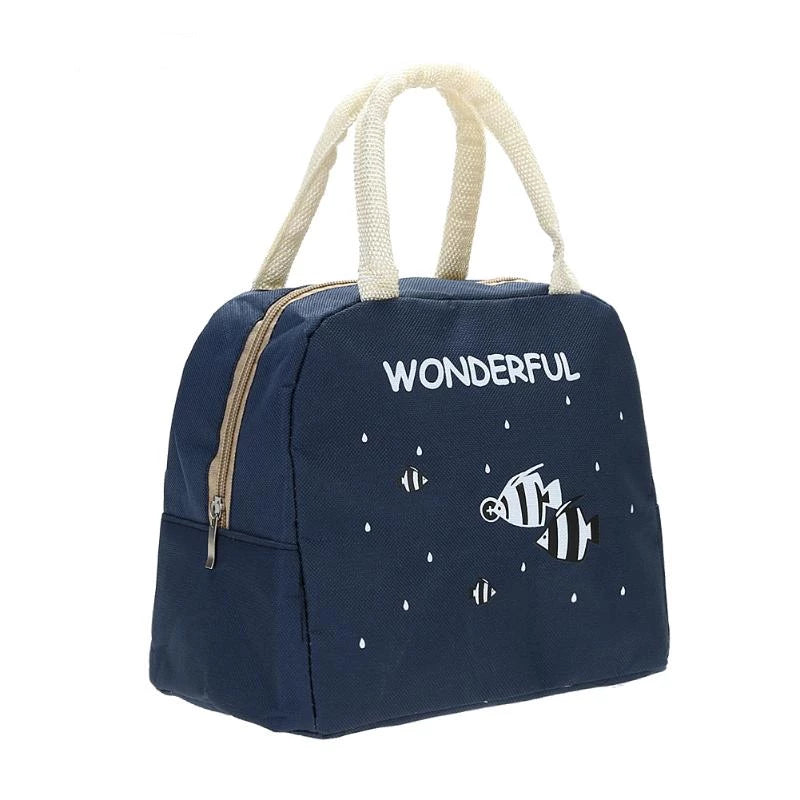 Fashionable Canvas Lunch Bag Portable And Insulated Thermal For Women And Kids
