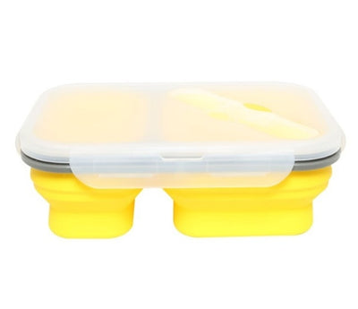 2 Compartments Silicone Bento Lunch Boxes for Adults and Kids