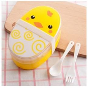 Cute Plastic Bento Lunch Boxes for Kids, Double Decker, 700ml