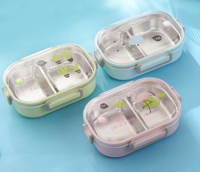 Cute School Bento Lunch Boxes for Kids, 2 Compartments, Stainless Steel