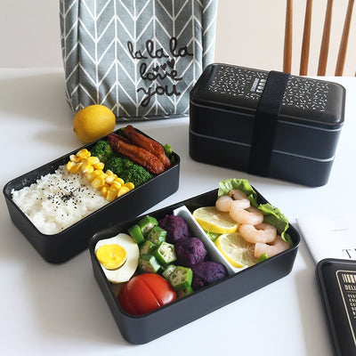 Double Decker Bento Lunch Boxes for Adults and Kids,  Black, Japanese Style