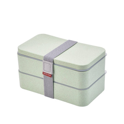 Double Decker Bento Lunch Boxes for Adults and kids, Wheat Straw, 1200ml