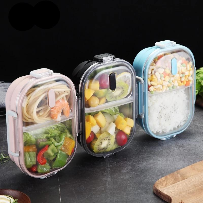 2 Compartments Stainless Steel Bento Lunch Boxes for Adults and Kids